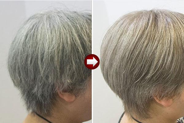 40代女性のグレーヘアーを明るい白髪染めヌードカラーアップ画像