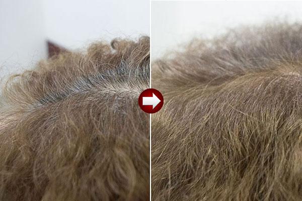 グレーヘアー60代女性を明るい白髪染めに画像