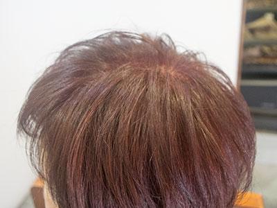 ワインレッドに染め直した白髪染め