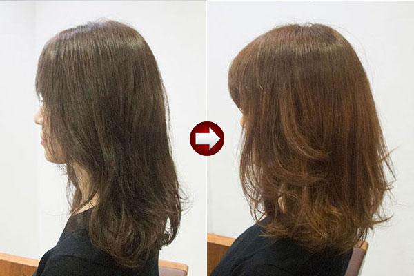 グレイヘアースタイル40代 女性 画像 明るい白髪染めにオレンジ系