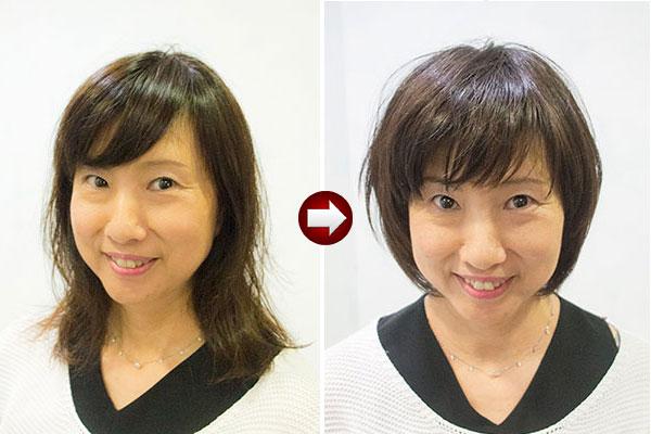 50代女性の傷んだ髪を切って髪型をイメチェン