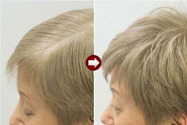 50代女性グレーヘアーを明るい白髪染めベージュアップ画像