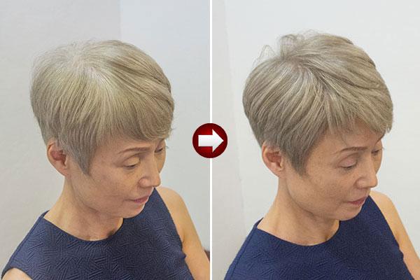 グレイヘア スタイル50代 女性画像 明るい白髪染めアッシュ