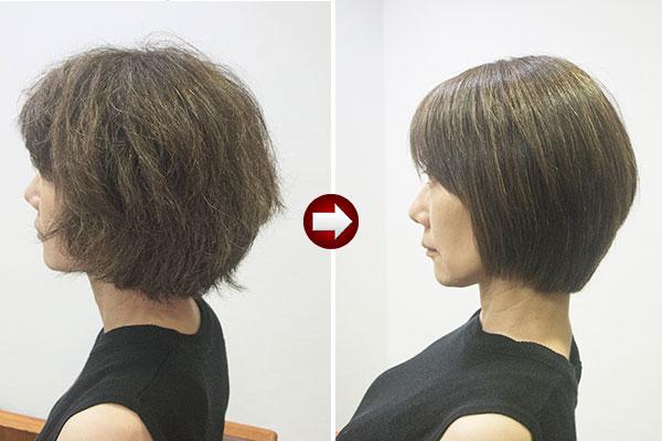 40代女性クセ毛のショートを縮毛矯正でサラサラ美人に