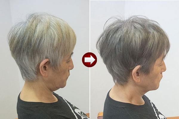 グレイヘア スタイル60代 女性画像 明るい白髪染めグレイ
