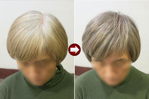グレイヘア スタイル60代 女性画像 明るい白髪染めアッシュ系