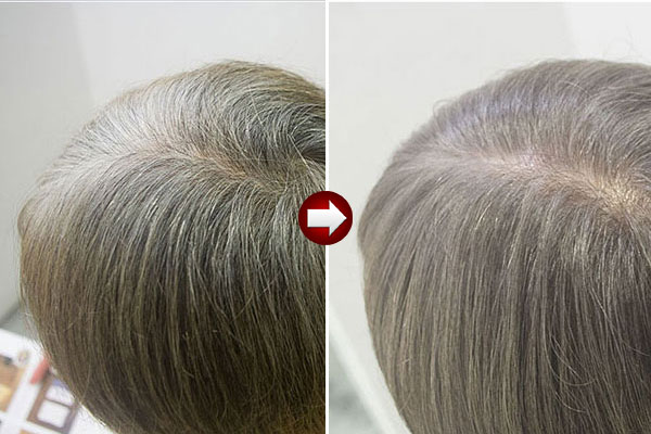 60代女性グレーヘアーをチャコールグレイに画像