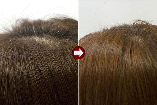 40代女性明るい白髪染めにオレンジ系アップ画像