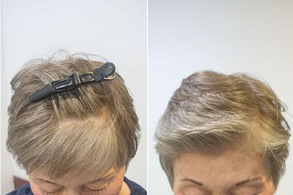 グレーヘアー60代 女性 画像 前髪の白髪を目立たなく染める