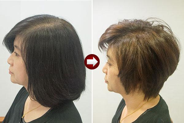 暗い白髪染めを明るく染め直す グレイヘアースタイル40代 女性 画像