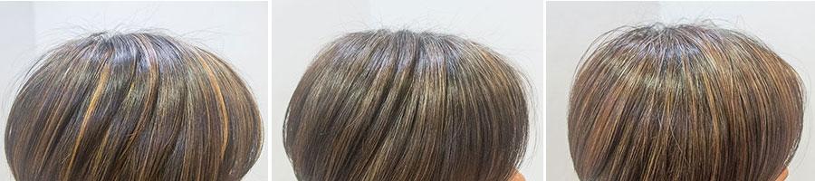 白髪のメッシュによるカラーの変化