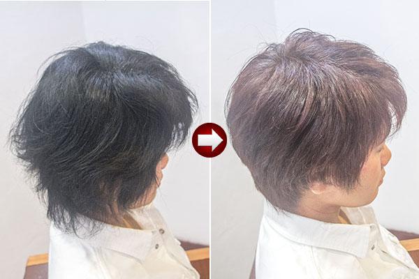 くせ毛の黒いヘナを明るいヘアカラーに