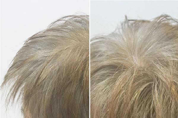 毛先を明るくして根元を淡く染めるグレイヘアー