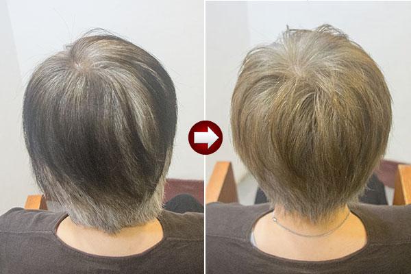 黒い白髪染めを明るくしてグレイヘアを目指す