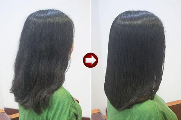 酸熱トリートメントで髪質改善ストレートヘア