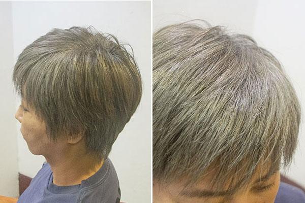 グレイヘアを生かした白髪染めチャコールグレイ