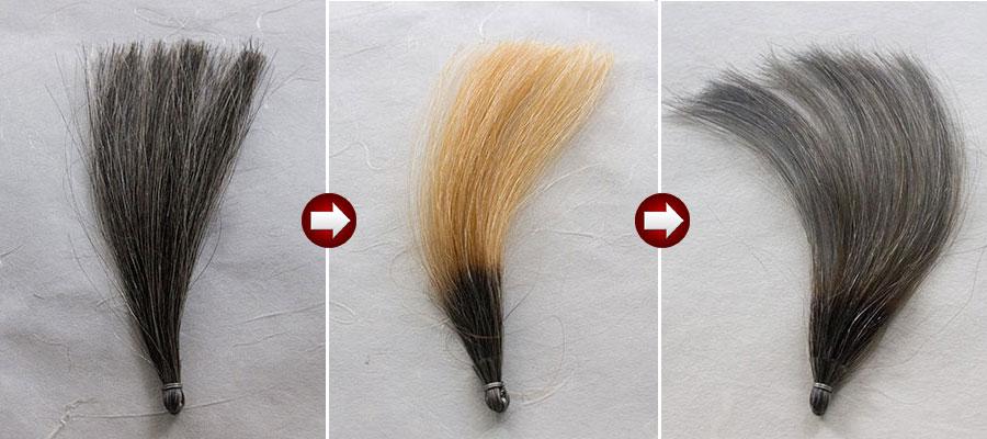 白髪30%をチャコールグレイに染める