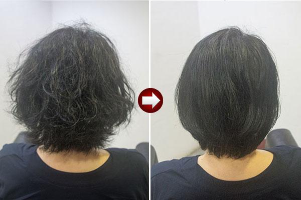 うねる くせ毛ショート50代女性