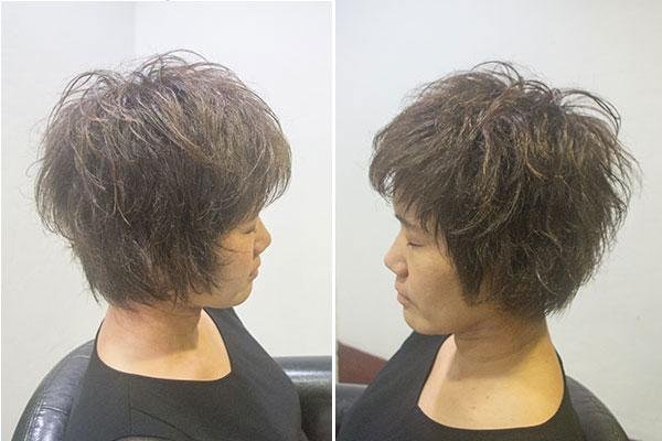 多毛で強いくせ毛のショートカット