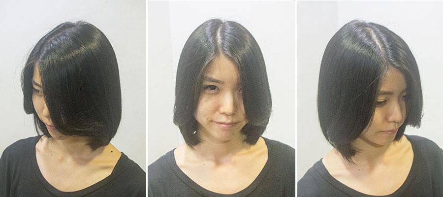 前髪なしのヘアスタイル