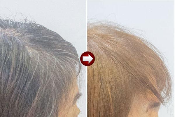 白髪を明るく染め直す