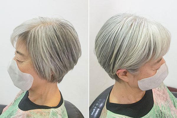 グレイヘア50代 女性 白髪90割