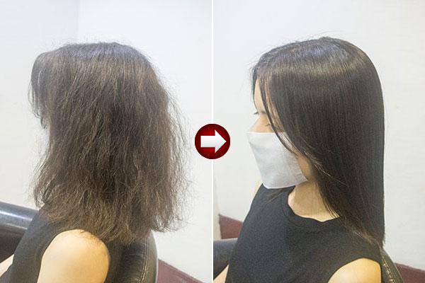 強い癖毛の縮毛矯正